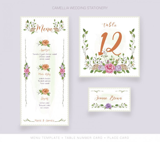 Modelo de menu, cartão de nome e cartão de número de mesa com flores em aquarela