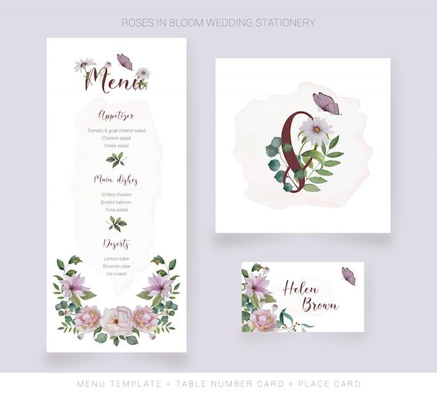 Modelo de menu, cartão de número de mesa, cartão de lugar com flores em aquarela