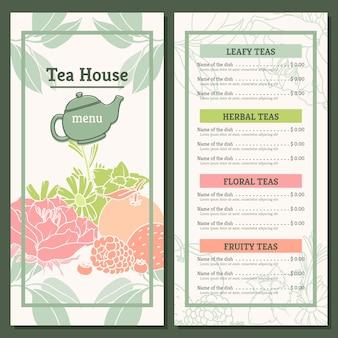 Modelo de menu casa de chá