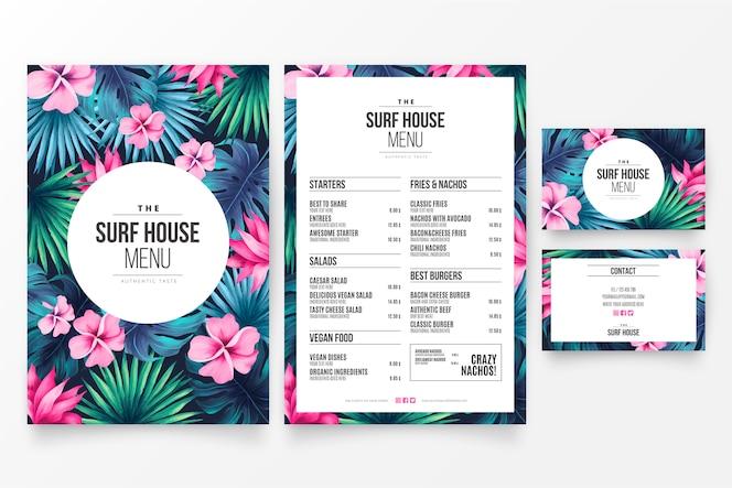 Modelo de menu chique restaurante com tema tropical floral