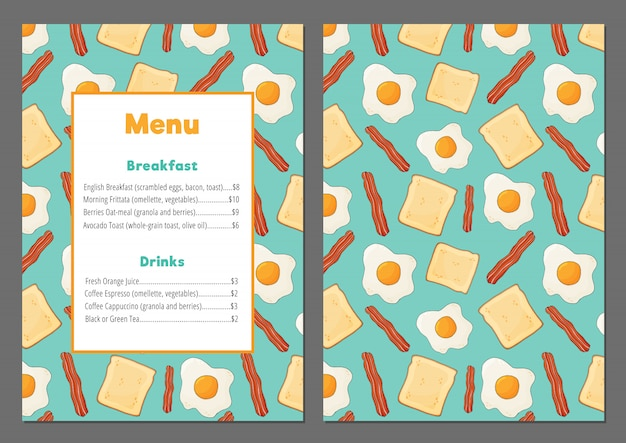 Modelo de menu colorido com ovos mexidos, bacon e pão