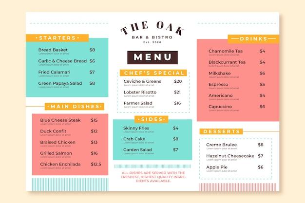 Modelo de menu colorido de restaurante