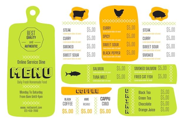 Modelo de menu colorido em formato horizontal