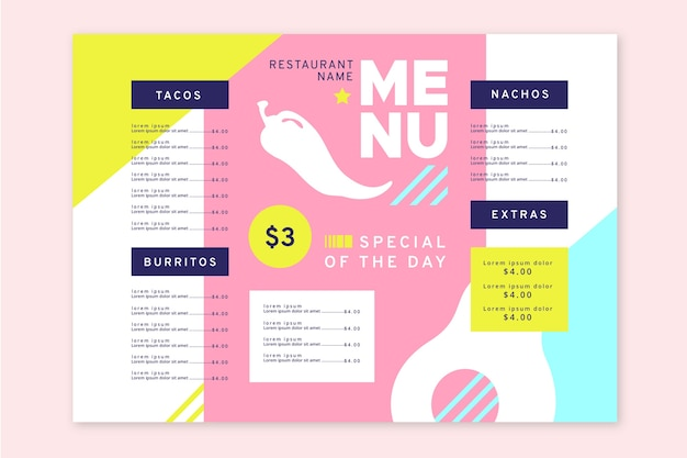 Modelo de menu colorido para restaurante