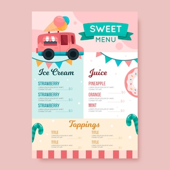 Modelo de menu colorido restaurante doce