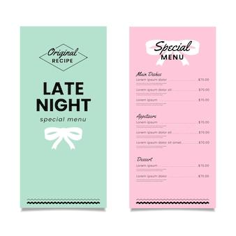 Modelo de menu colorido restaurante especial