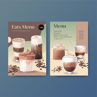 Modelo de menu com café em estilo aquarela
