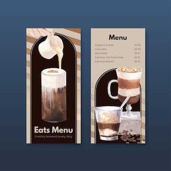 Modelo de menu com café