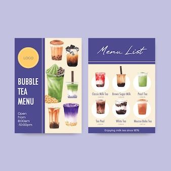 Modelo de menu com chá com leite bolha