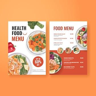 Modelo de menu com conceito de comida saudável, estilo aquarela