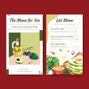 Modelo de menu com conceito de dieta cetogênica para ilustração em aquarela de restaurante e loja de alimentos.