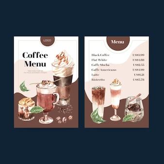 Modelo de menu com conceito de estilo de café coreano para aquarela de restaurante e bistrô