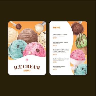 Modelo de menu com conceito de sabor de sorvete, estilo aquarela
