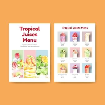 Modelo de menu com conceito de smoothies de frutas