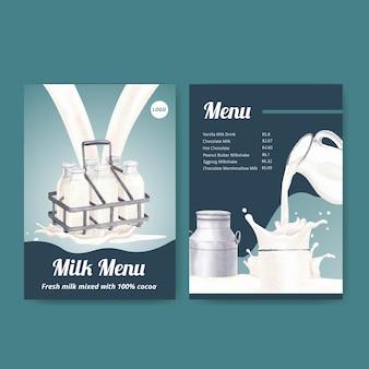Modelo de menu com conceito do dia mundial do leite, estilo aquarela
