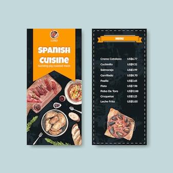 Modelo de menu com design de conceito de cozinha espanhola para ilustração de bisto e aquarela de restaurante