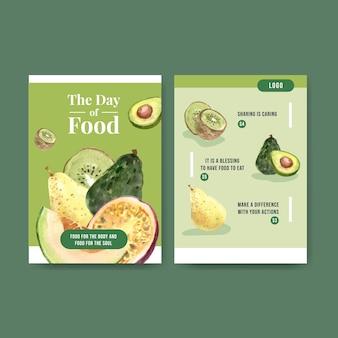 Modelo de menu com design de conceito de dia mundial da comida para aquarela de restaurante e loja de alimentos