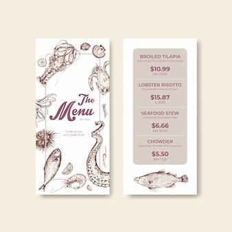 Modelo de menu com design de conceito de frutos do mar para publicidade e ilustração de marketing