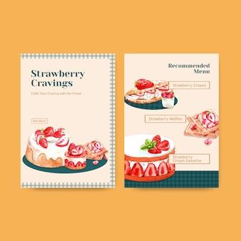 Modelo de menu com design de cozimento de morango para restaurante, café, bistrô e comida loja ilustração aquarela