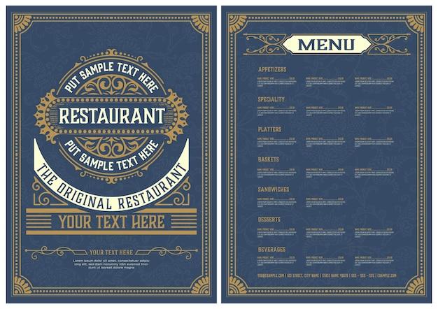 Modelo de menu com design detalhado