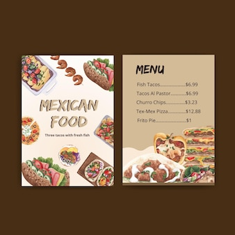 Modelo de menu com ilustração em aquarela de design de conceito de cozinha mexicana
