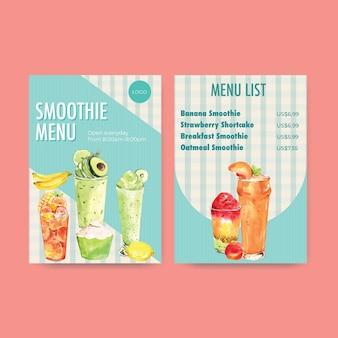Modelo de menu com vitaminas de frutas