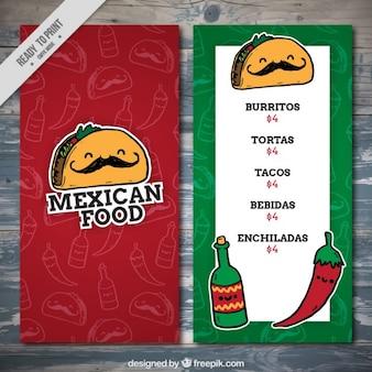 Modelo de menu comida mexicana engraçado