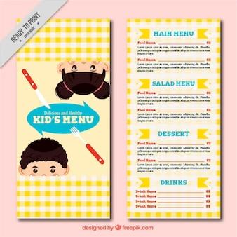 Modelo de menu crianças com design toalha de mesa