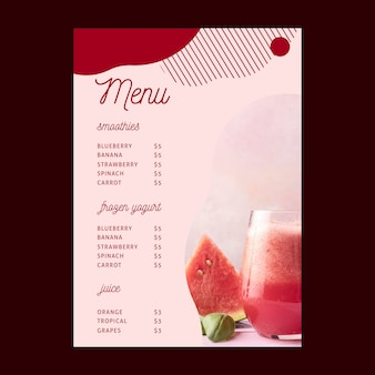 Modelo de menu da barra de smoothies