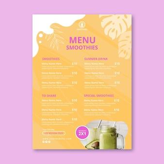 Modelo de menu da barra de smoothies