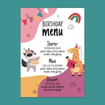 Modelo de menu de aniversário com animais