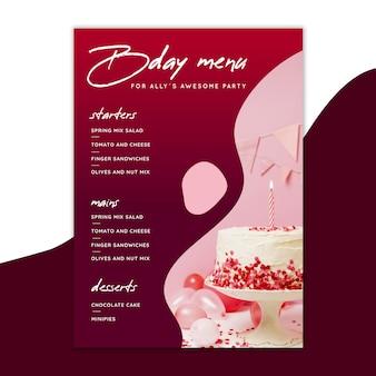 Modelo de menu de aniversário com bolo