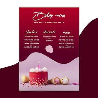 Modelo de menu de aniversário com bolos