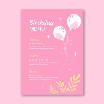 Modelo de menu de aniversário com folhas