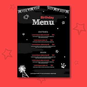 Modelo de menu de aniversário com ilustrações