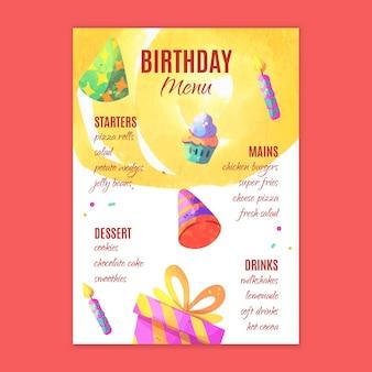 Modelo de menu de aniversário infantil