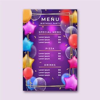 Modelo de menu de aniversário