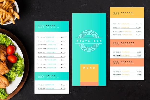 Modelo de menu de barra de restaurante