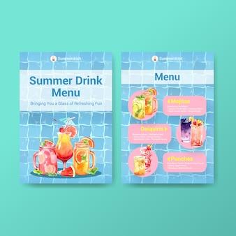 Modelo de menu de bebida de verão