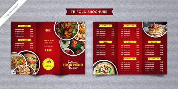 Modelo de menu de brochura com três dobras de alimentos