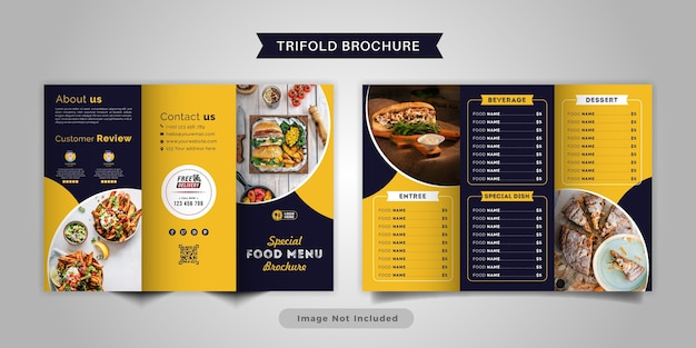 Modelo de menu de brochura com três dobras de comida. brochura do menu de fast food para restaurante com cor amarela e azul.