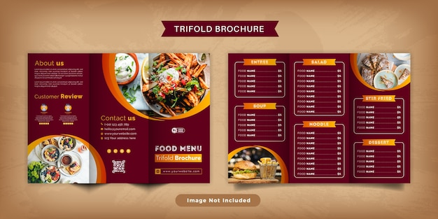 Modelo de menu de brochura com três dobras de comida. brochura do menu de fast food para restaurante com cor vermelha.