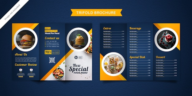 Modelo de menu de brochura de alimentos com três dobras.