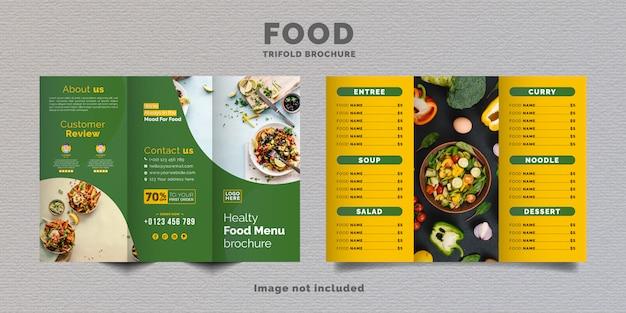 Modelo de menu de brochura de comida com três dobras. brochura de menu fast-food para restaurante com cor verde e amarela.