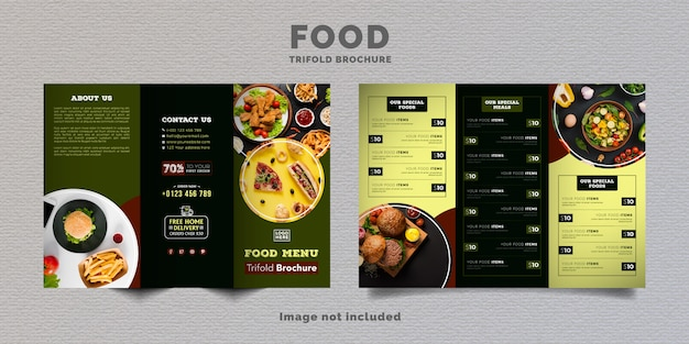 Modelo de menu de brochura de comida com três dobras. brochura de menu fast-food para restaurante com cor verde escuro.