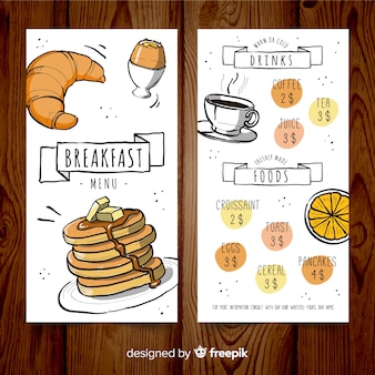 Modelo de menu de café da manhã desenhado mão