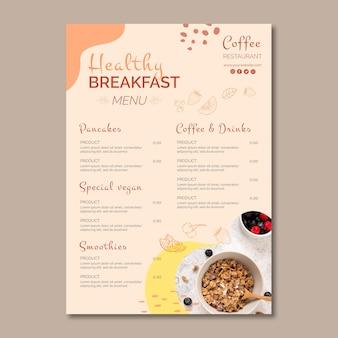 Modelo de menu de café da manhã saudável
