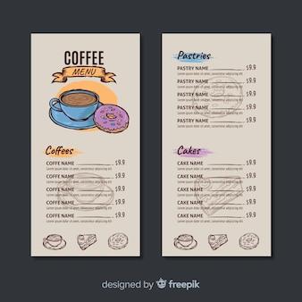 Modelo de menu de café desenhado mão