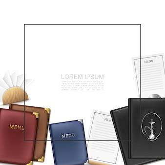 Modelo de menu de café realista com moldura para porta-cartões de menu colorido de texto e guardanapos