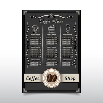 Modelo de menu de cafeteria com estilo vintage design